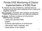 florida doe monitoring of district implementation of e bd rule
