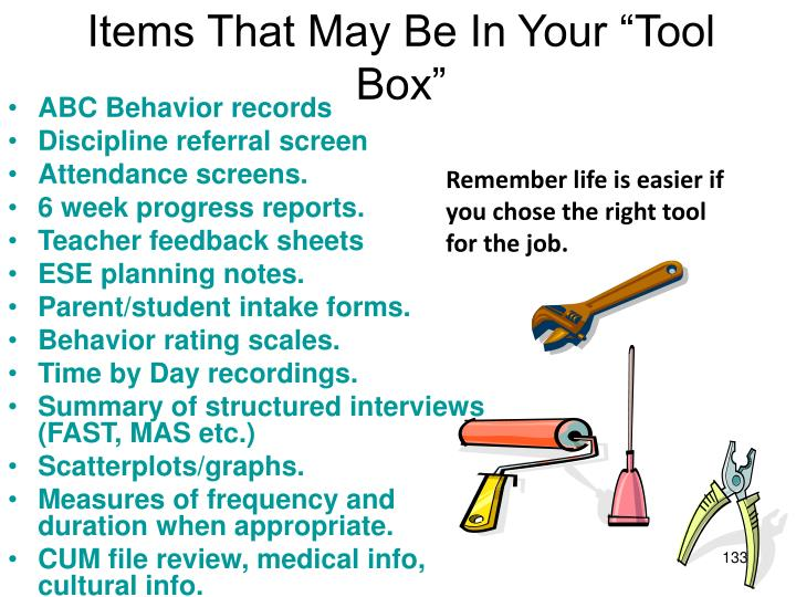 "Items That May Be In Your ""Tool Box"""
