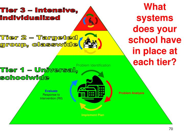 What systems does your school have in place at each tier?