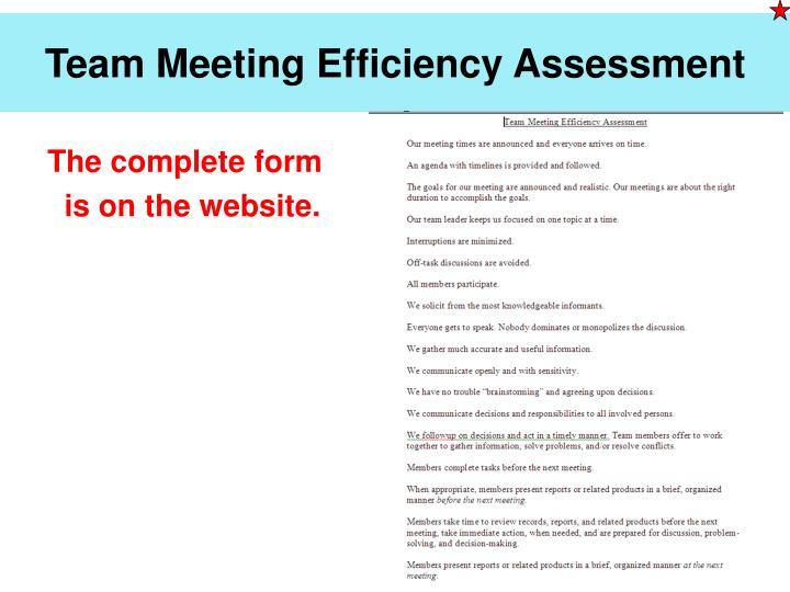 Team Meeting Efficiency Assessment