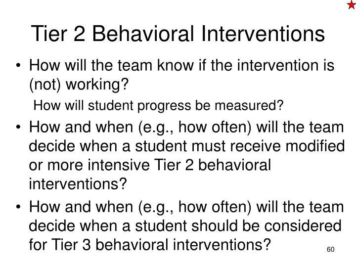 Tier 2 Behavioral Interventions