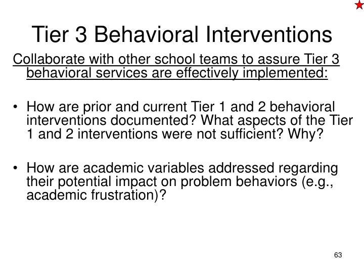 Tier 3 Behavioral Interventions