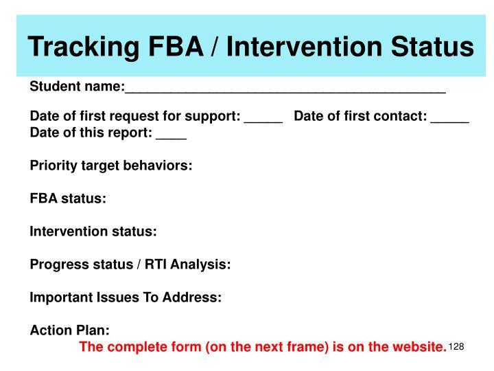 Tracking FBA / Intervention Status