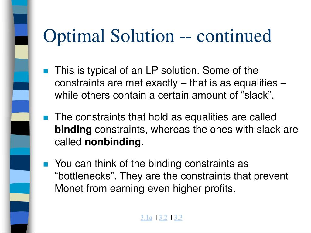 Optimal Solution -- continued