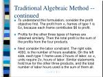 traditional algebraic method continued6