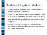 traditional algebraic method