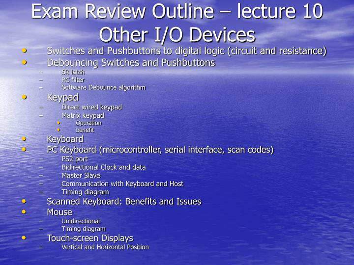 Exam Review Outline – lecture 10