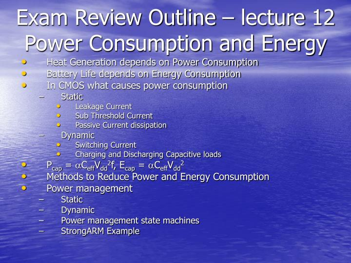 Exam Review Outline – lecture 12