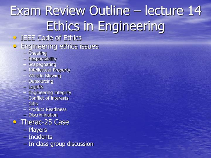 Exam Review Outline – lecture 14