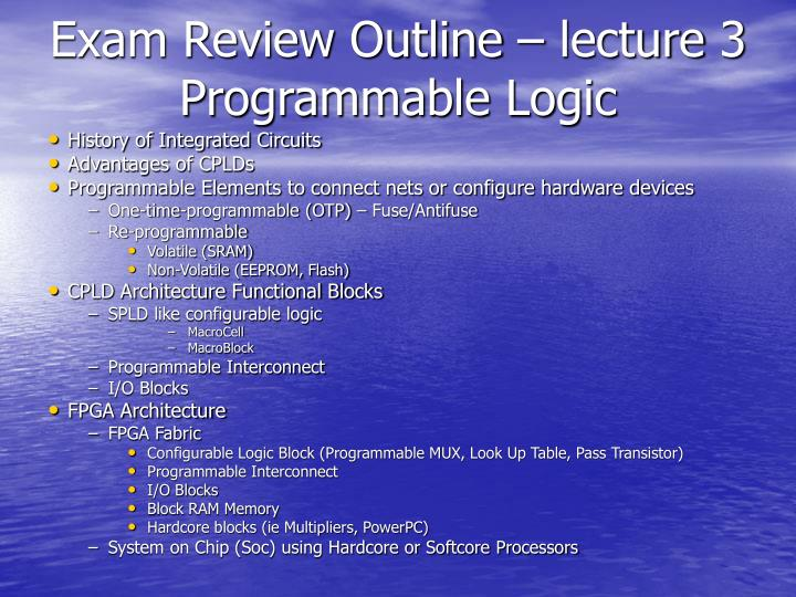 Exam Review Outline – lecture 3