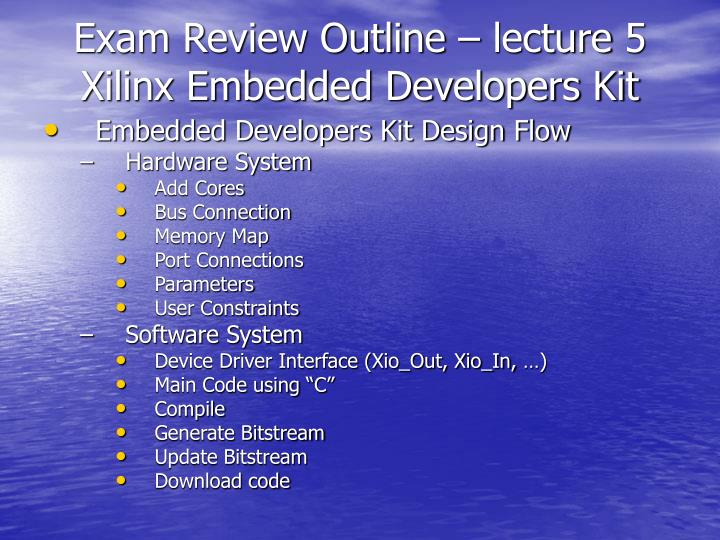 Exam Review Outline – lecture 5
