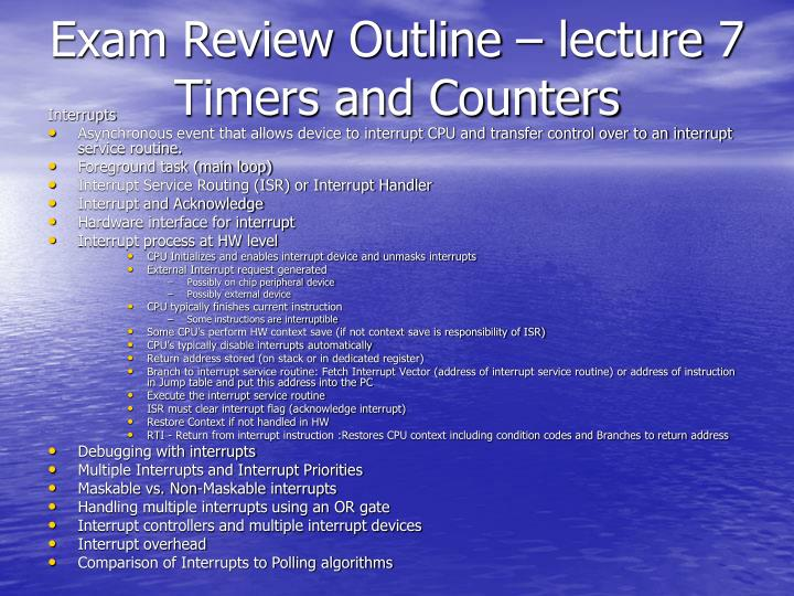 Exam Review Outline – lecture 7