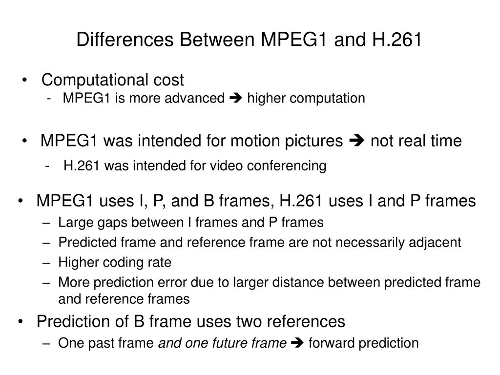 Differences Between MPEG1 and H.261