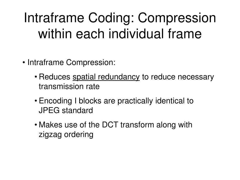 Intraframe Coding: Compression within each individual frame