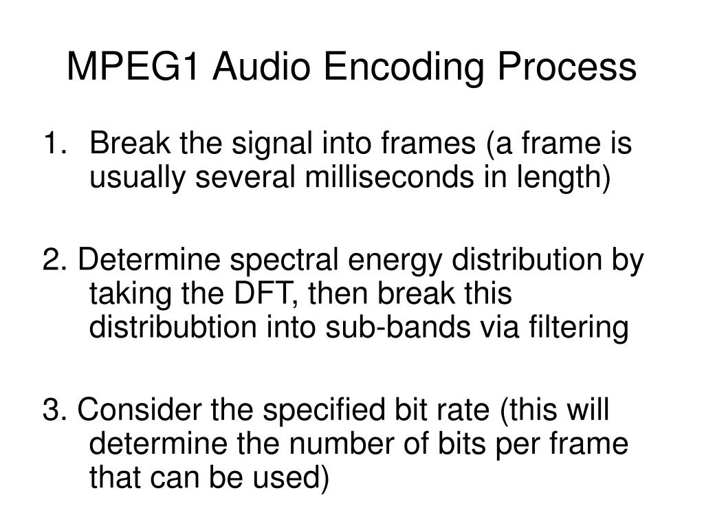 MPEG1 Audio Encoding Process