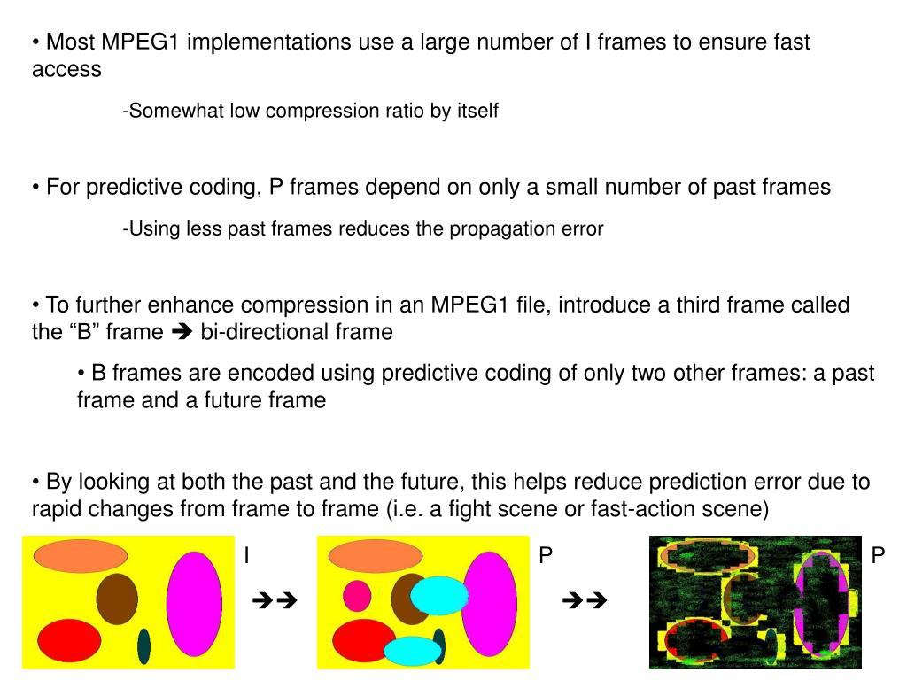 Most MPEG1 implementations use a large number of I frames to ensure fast access
