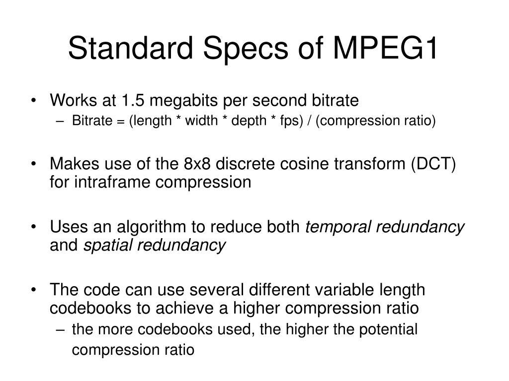 Standard Specs of MPEG1