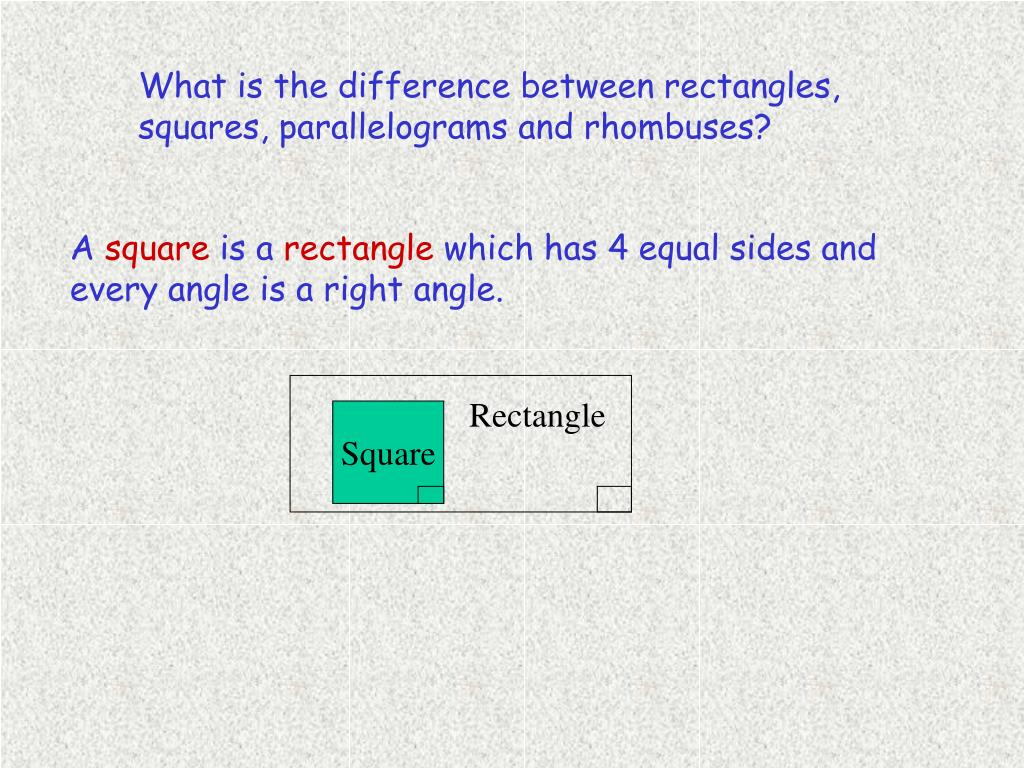 What is the difference between rectangles, squares, parallelograms and rhombuses?