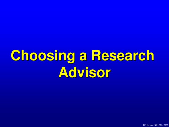 Choosing a Research