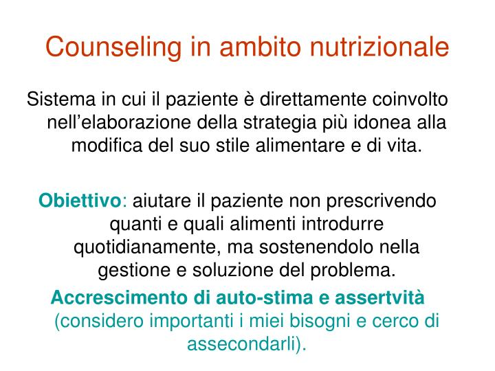 Counseling in ambito nutrizionale