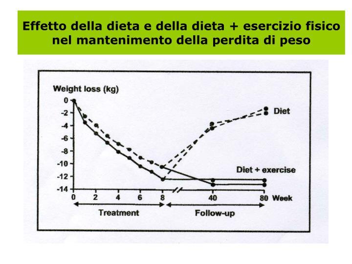 Effetto della dieta e della dieta + esercizio fisico nel mantenimento della perdita di peso