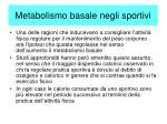 metabolismo basale negli sportivi