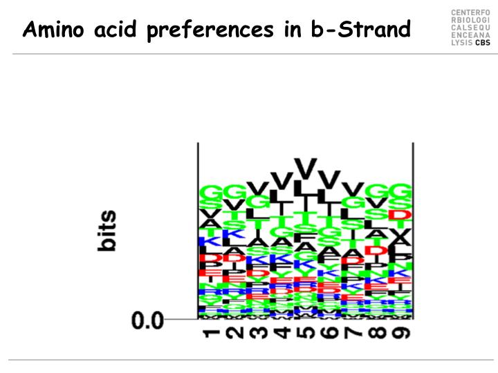 Amino acid preferences in b-Strand