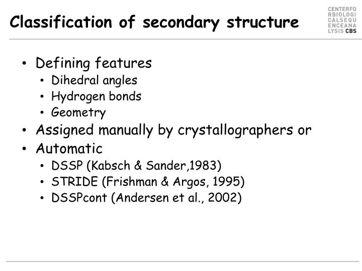 Classification of secondary structure