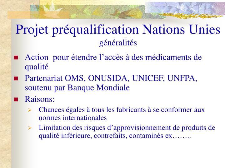 Projet préqualification Nations Unies