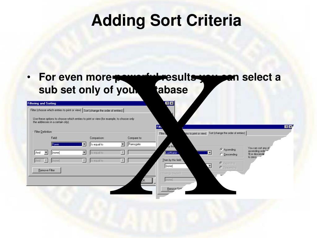 Adding Sort Criteria