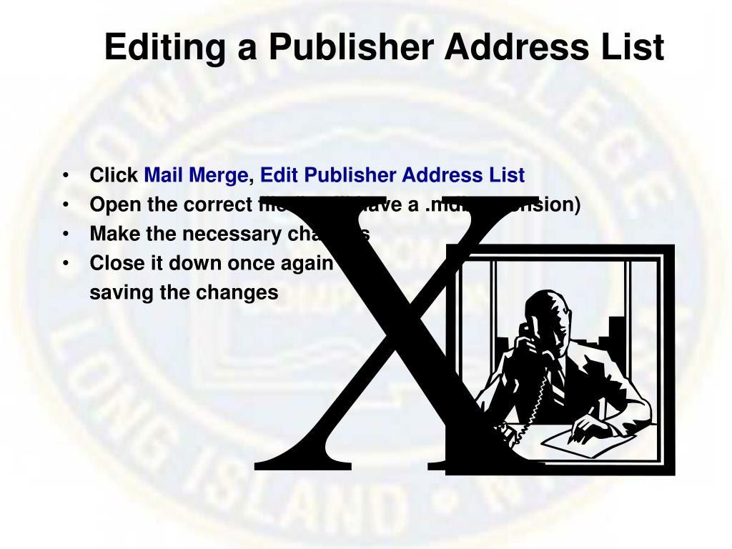 Editing a Publisher Address List