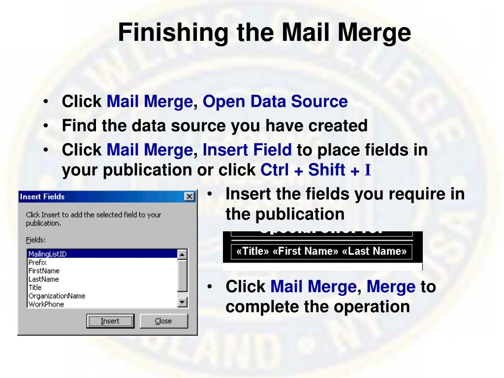 Finishing the Mail Merge