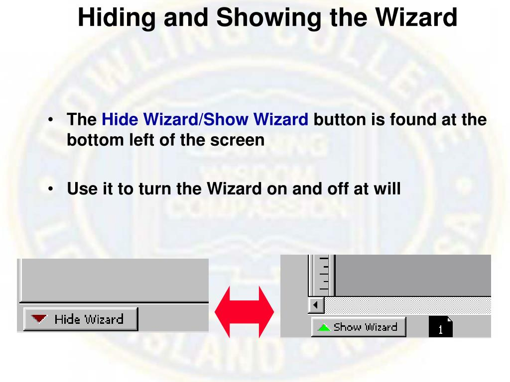 Hiding and Showing the Wizard