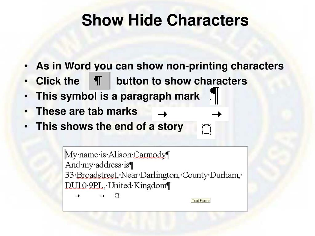 Show Hide Characters