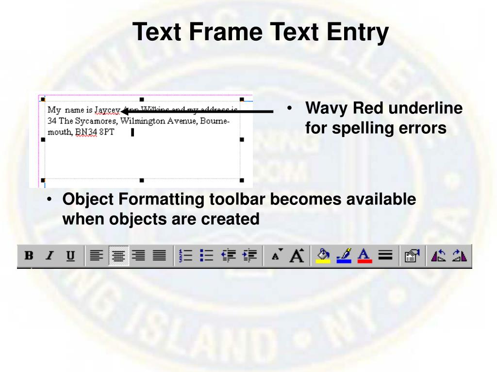 Text Frame Text Entry