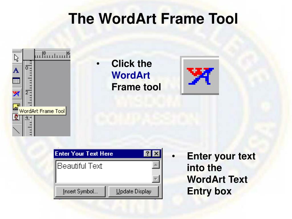 The WordArt Frame Tool