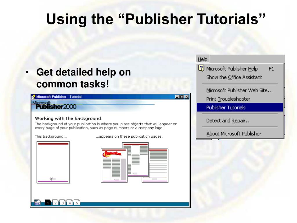 "Using the ""Publisher Tutorials"""