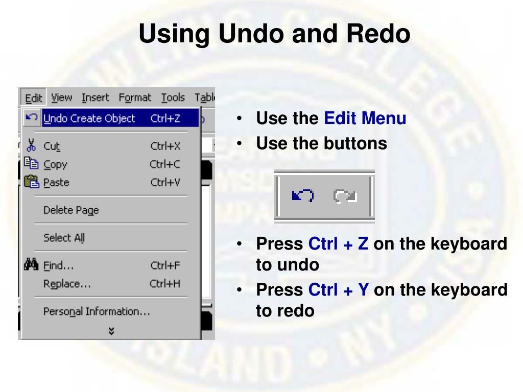 Using Undo and Redo