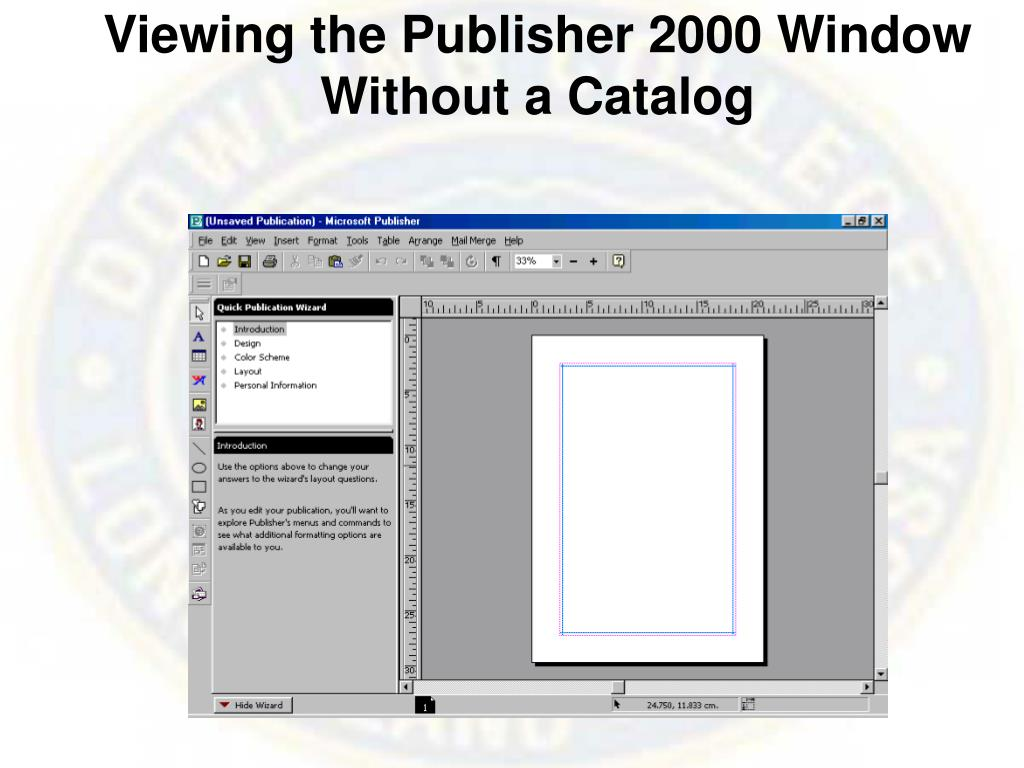 Viewing the Publisher 2000 Window