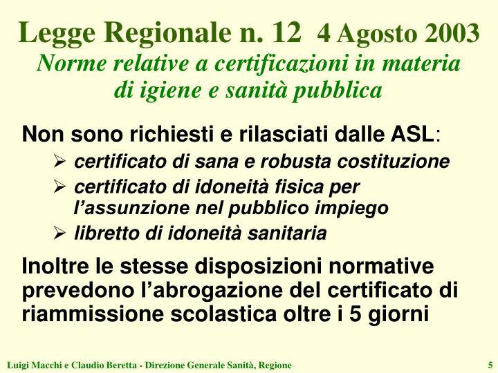 Legge Regionale n. 12