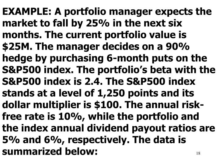 EXAMPLE: A portfolio manager expects the market to fall by 25% in the next six months. The current portfolio value is $25M. The manager decides on a 90% hedge by purchasing 6-month puts on the S&P500 index. The portfolio's beta with the S&P500 index is 2.4. The S&P500
