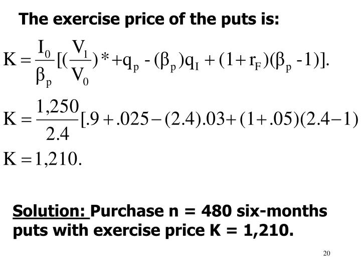 The exercise price of the puts is: