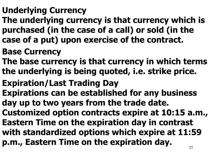 Underlying Currency