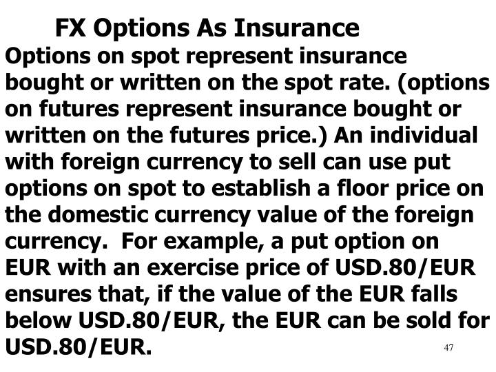 FX Options As Insurance