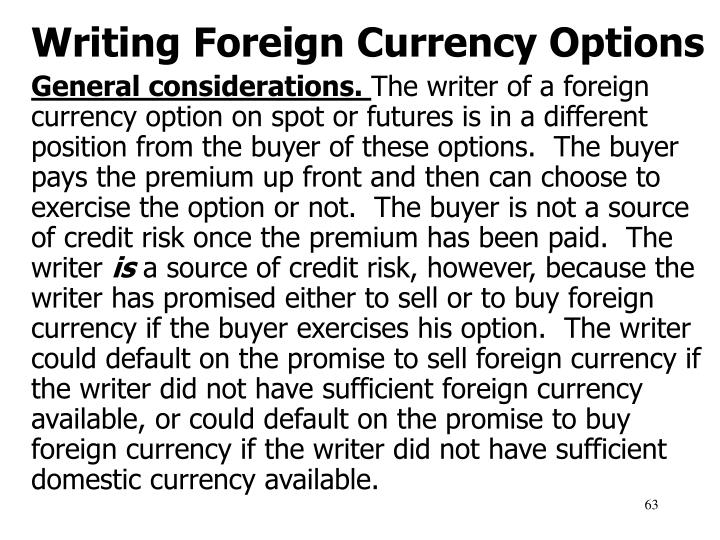 Writing Foreign Currency Options