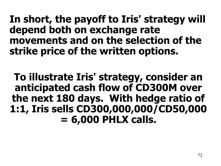 In short, the payoff to Iris' strategy will depend both on exchange rate movements and on the selection of the strike price of the written options.