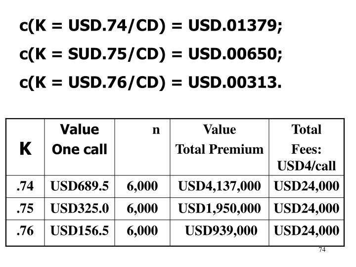 c(K = USD.74/CD) = USD.01379;