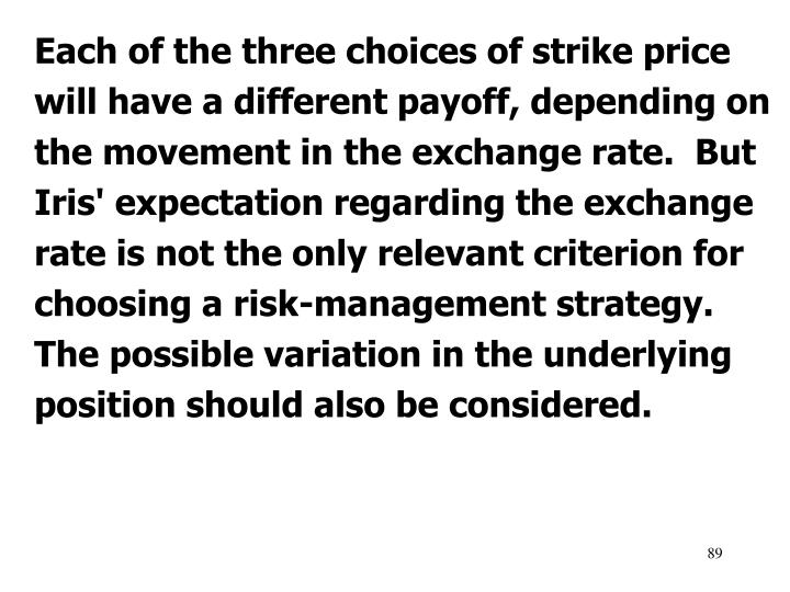 Each of the three choices of strike price