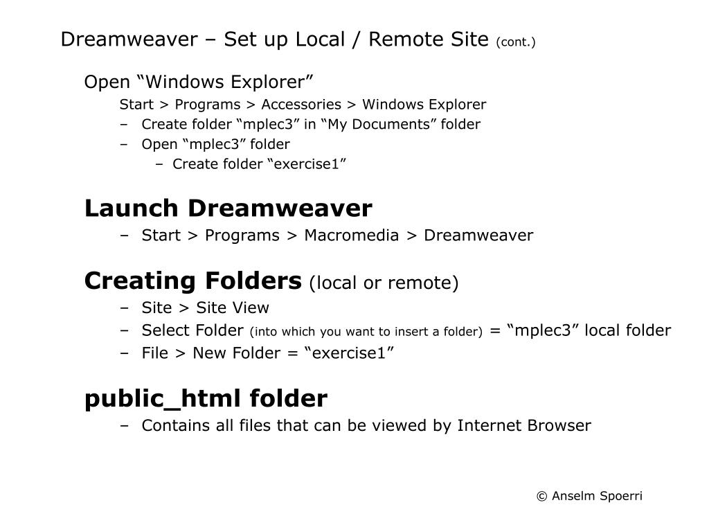 Dreamweaver – Set up Local / Remote Site