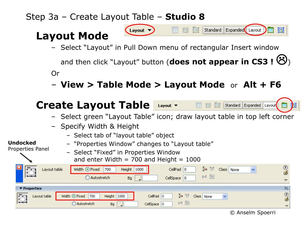 Step 3a – Create Layout Table –